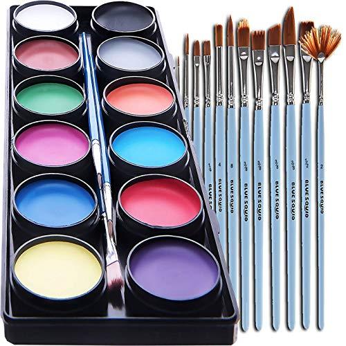 Blue Squid Face Paint Kit for Kids - with 15 Premium Art Brush Set, 30 Stencils, 12 Large Washable Paints, Safe Facepainting for Sensitive Skin, Professional Quality Body & Face Facepaints Halloween
