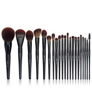 Jessup Black Makeup Brushes Premium Synthetic Powder Foundation Highlight Concealer Eyeshadow Blending Eyebrow Liner Spoolie Brush Set 21pcs T271