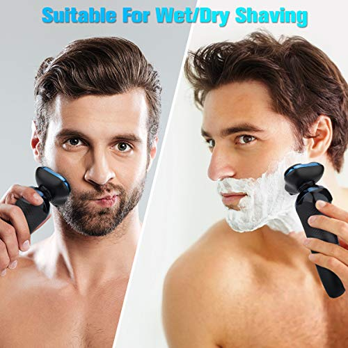 Electric Razor, Electric Shavers for Men, Dry Wet Waterproof Mens Electric Razor, Electric Shavers for Men, Dry Wet Waterproof Mens Rotary Facial Shaver, Portable Face Shaver Cordless Travel USB Rechargeable with Hair Clipper LED Display for Shaving Husband Dad.