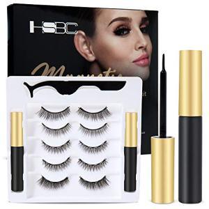 Upgraded 3D Magnetic Eyelashes Kit, Reusable Magnetic Eyelashes with Eyeliner,Magnetic Eyeliner and Magnetic Eyelash-No Glue Needed (5-Pairs)
