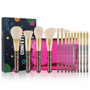 Docolor Makeup Brushes 14Pcs Confetti Makeup Brushes Set Premium Synthetic Foundation Powder Kabuki Brushes Concealers Eye Shadows Make Up Brushes Kit With Gift Bags Box