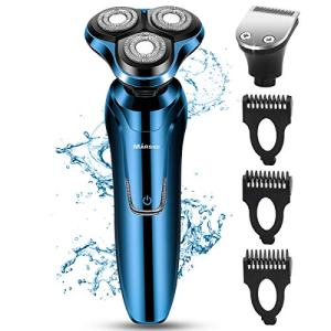 Electric Razor, Electric Shavers for Men, Dry Wet Waterproof Mens Rotary Facial Shaver, Portable Face Shaver Cordless Travel USB Rechargeable with Hair Clipper LED Display for Shaving Husband Dad