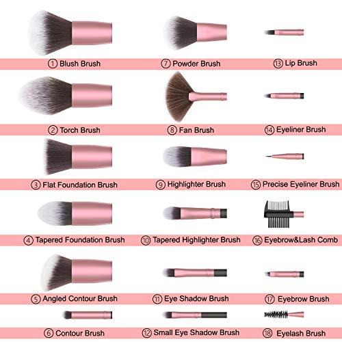 EmaxDesign Makeup Brushes,18 Pcs Professional Makeup Brush Set EmaxDesign Makeup Brushes,18 Pcs Professional Makeup Brush Set Premium Synthetic Brush Foundation Blush Concealer Blending Powder Liquid Cream Face Eyeshadow Brushes Kit (Rose Golden).