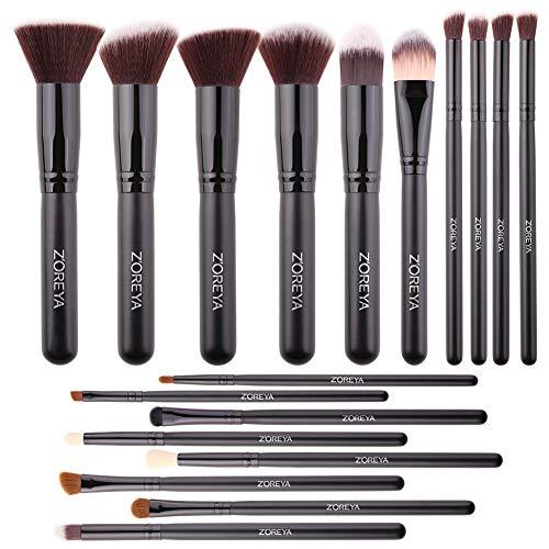 Makeup Brushes Set Zoreya 18PCS Makeup Brushes Premium Cosmetic Brushes Synthetic Blending Blush Foundation Powder Concealers Eye Shadows Makeup Brush With Carrying Travel Bag Organizer