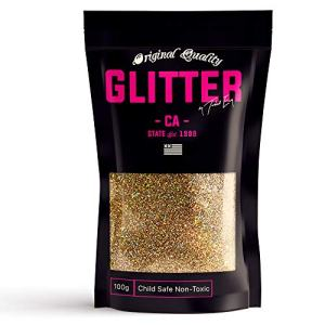 Gold Holographic Premium Glitter Multi Purpose Dust Powder 100g / 3.5oz for use with Arts & Crafts Wine Glass Decoration Weddings Cards Flowers Cosmetic Face Body (Packaging May Vary)