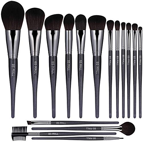BS-MALL(TM) Makeup Brushes Premium Makeup Brush Set Synthetic Kabuki Cosmetics Foundation Blending Blush Eyeliner Face Powder Brush Makeup Brush Kit(16PCS,Black)