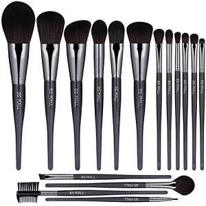 BS-MALL(TM) Makeup Brushes Premium Makeup Brush Set Synthetic Kabuki Cosmetics Foundation Blending Blush Eyeliner Face Powder Brush Makeup Brush Kit(16PCS,Black)