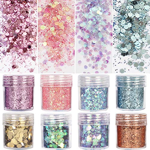 8 Boxes Unicorn Chunky Glitter, Holographic Cosmetic Festival Chunky Glitter, Ultra-thin Nail Glitter Sequins Iridescent Flakes Sparkles Face Body Hair Nail