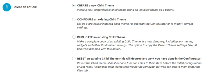 Child Theme Configurator Plugin Step 1