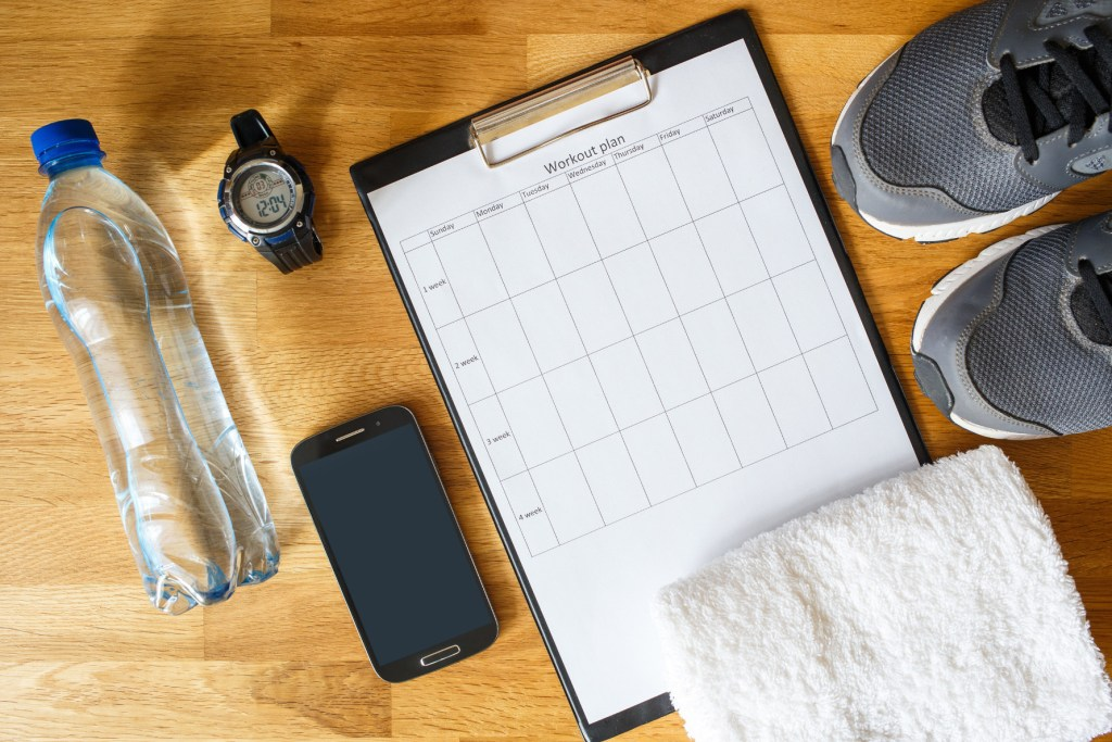 make weekly routines to train and attend your gym classes