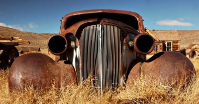 Car abandoned in the 1930's in the ghost town of Bodie, California