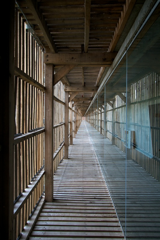 Glass walls encase the hallways and look out through slatted wood walls and floors