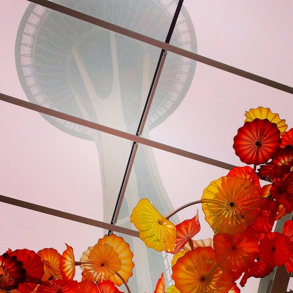 Iconic Seattle-Chihuly, Space Needle and rain-pic by JRN