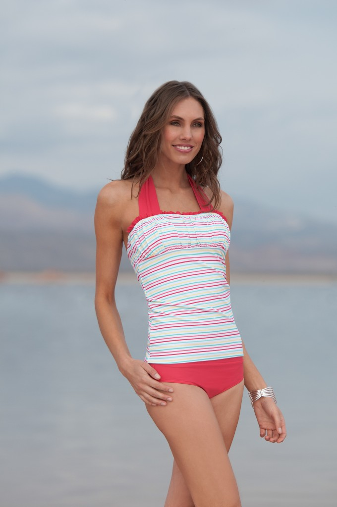 Ruched-Square-Halter-Coral-Mint-MultiStripe