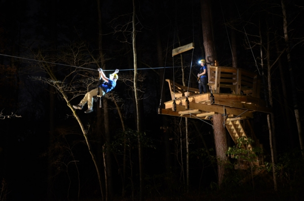 Ziplining at night