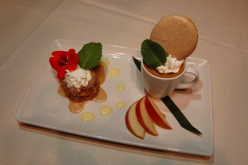 Settlers Inn Pumpkin Custard with Pumpkin Macaroon and Cinnamon Glazed Pumpkin Cake