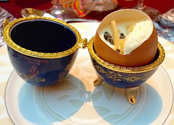 "Potato foam and caviar ""Fabergé"" egg"