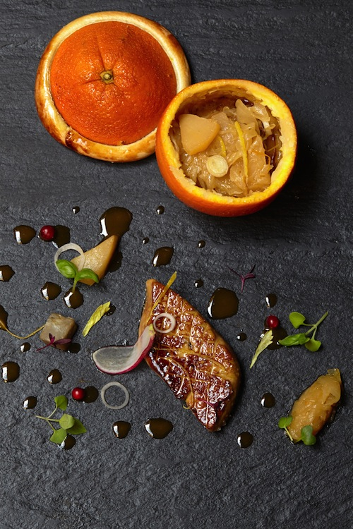 Duck foie gras in orange