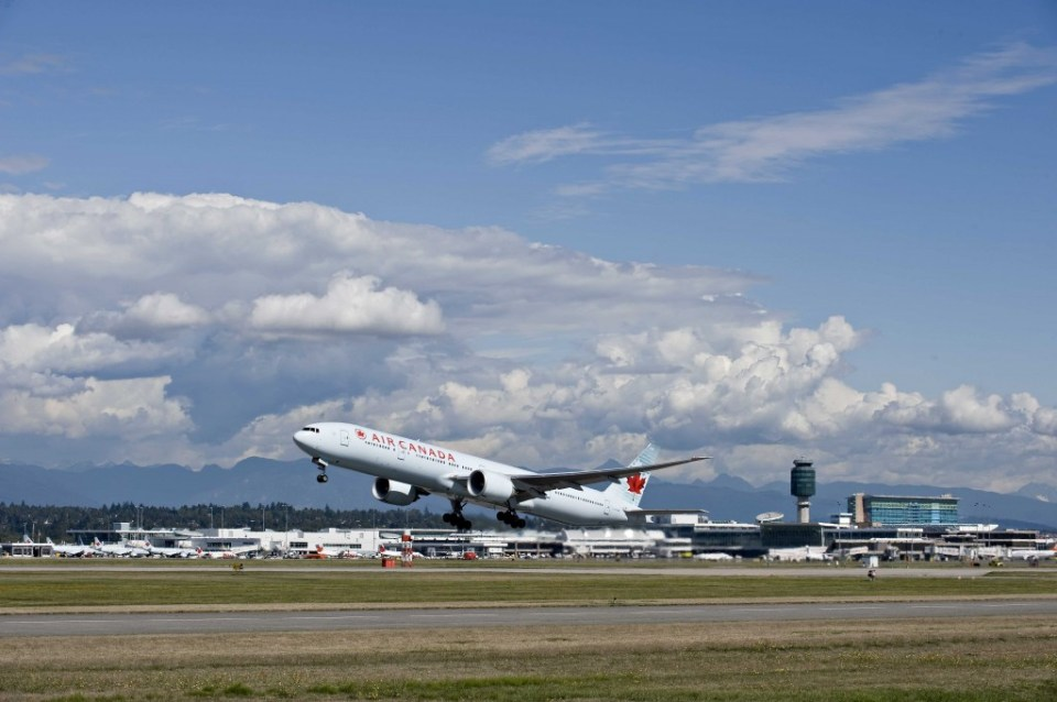 Aircraft Departure by Larry Goldstein and Vancouver Airport Authority-LOW