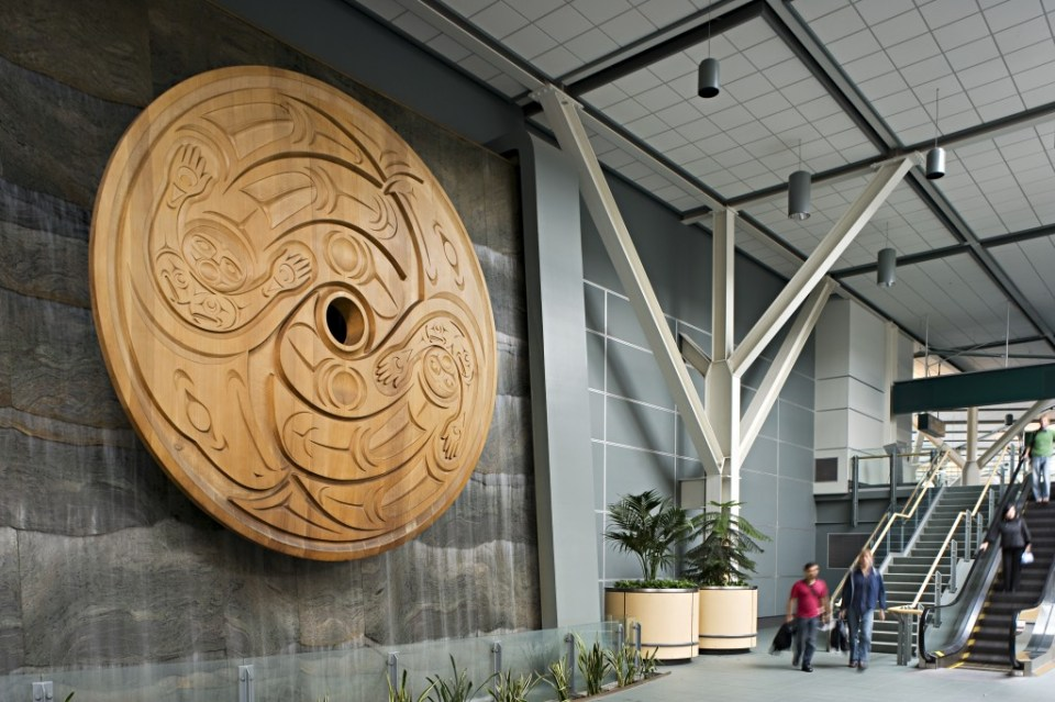 Flight Spindle Whorl by artist Susan Point. Photo by Larry Goldstein for Vancouver Airport Authority.