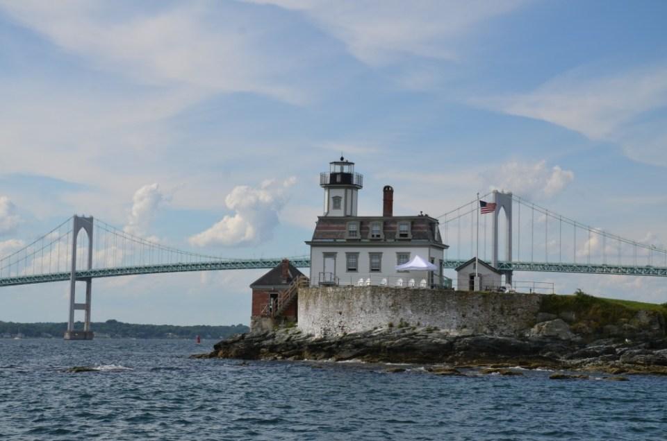 Island home and the Newport bridge.