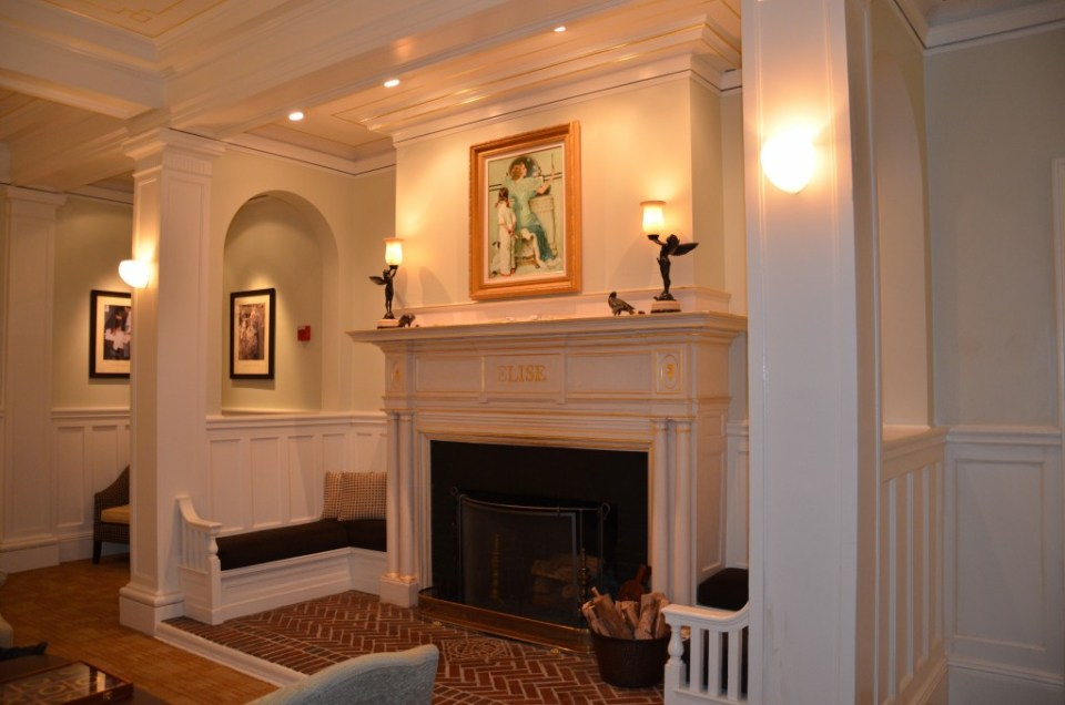 Cozy fireplace nook at the Vanderbilt Grace Hotel.