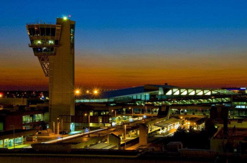 PHL Terminal A West at night. Photo courtesy Philadelphia International Airport