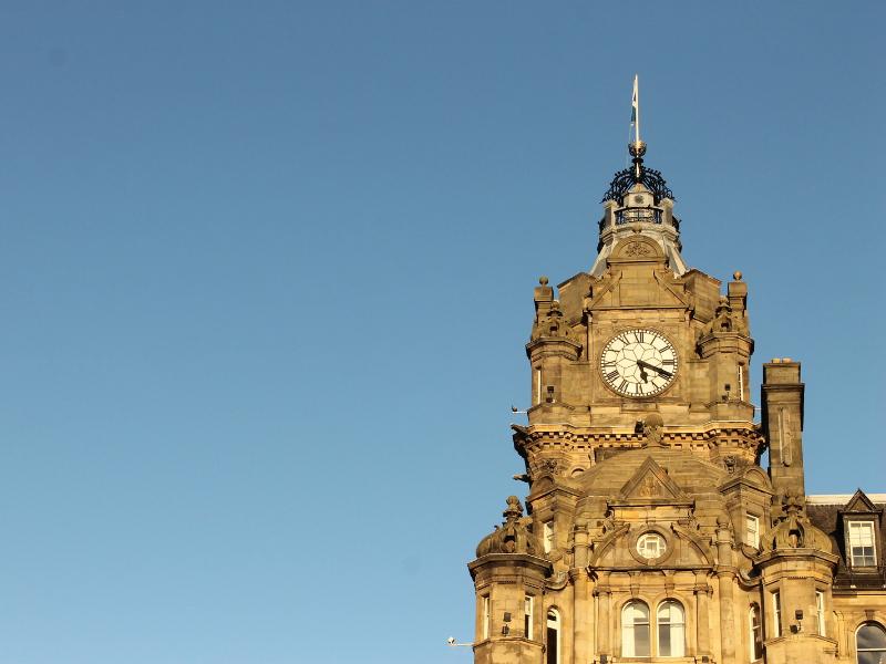 The clock at The Balmoral Hotel
