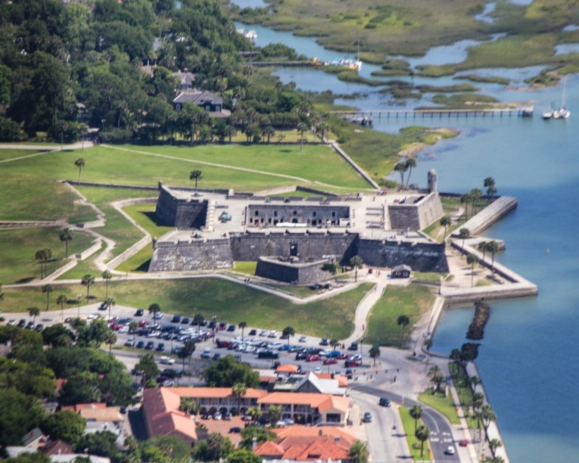 From the air, the design of Castillo de San Marcos i s clearly visible.