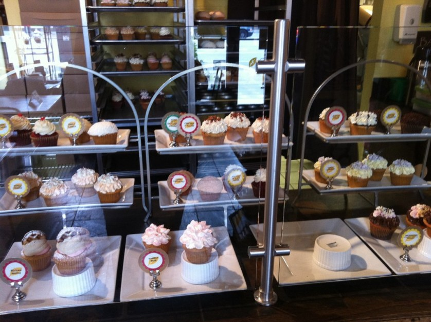 Cupcakes on display at Yellow Leaf Cupcake