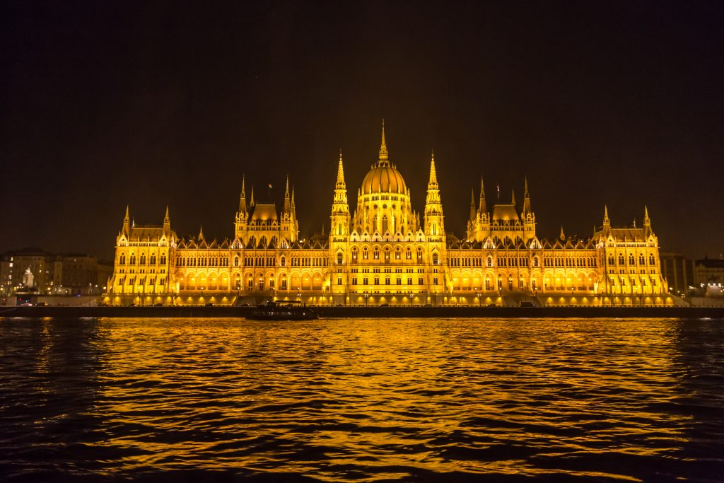 Parliament as seen on an evening river cruise.
