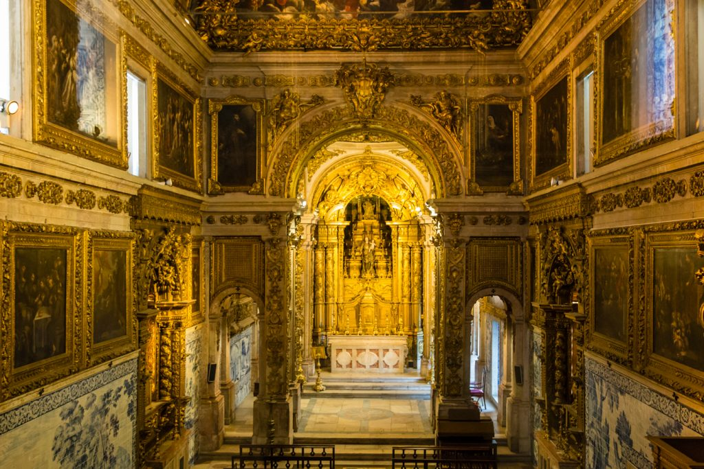 The golden glow in the chapel within the National Tile Museum, Lisbon.