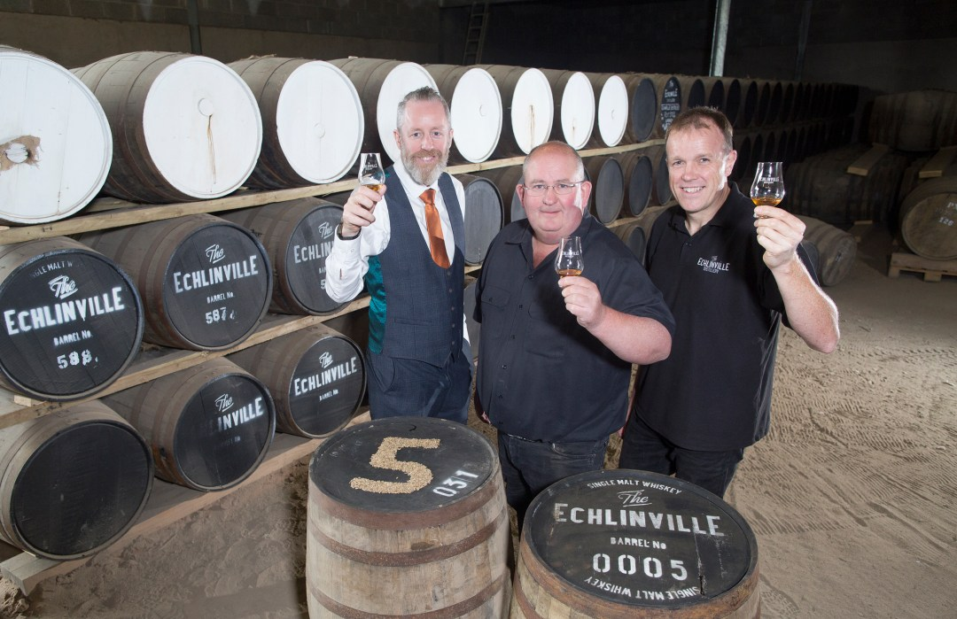 L-R Jarlath Watson, Finance Director, owner Shane Braniff and Head Distiller Graeme Millar