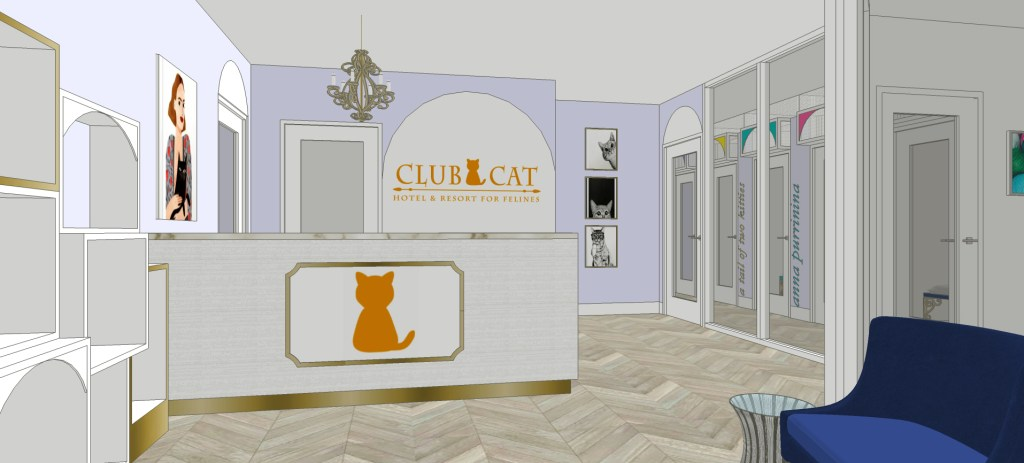 Club Luxury Cat-only Hotel lobby rendering
