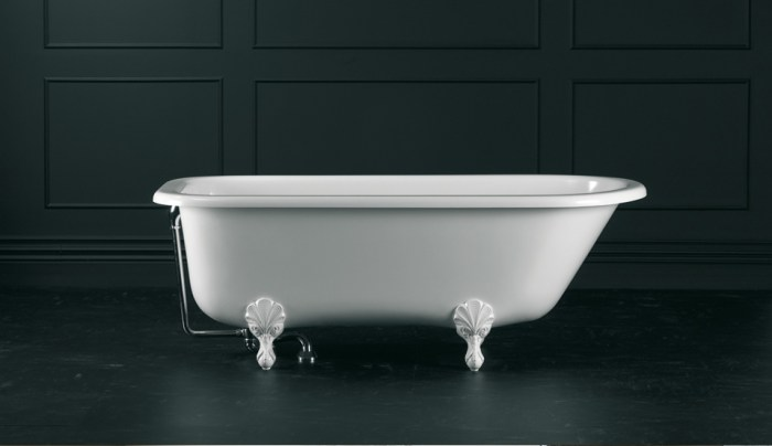 Victoria + Albert Hampshire traditional bath in volcanic limestone is distributed in Quenesland by Luxe by Design, Australia.