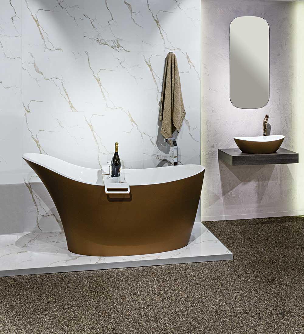 Victoria + Albert Amalfi bath and basin in metallic bronze by Luxe by Design, Brisbane.