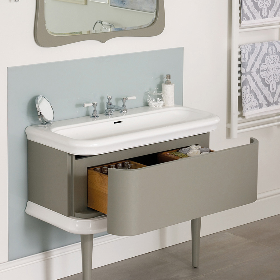Victoria + Albert Lario 100 solid wood bathroom vanity with integrated volcanic limestone basin top. Distributed in Australia by Luxe by Design, Brisbane.