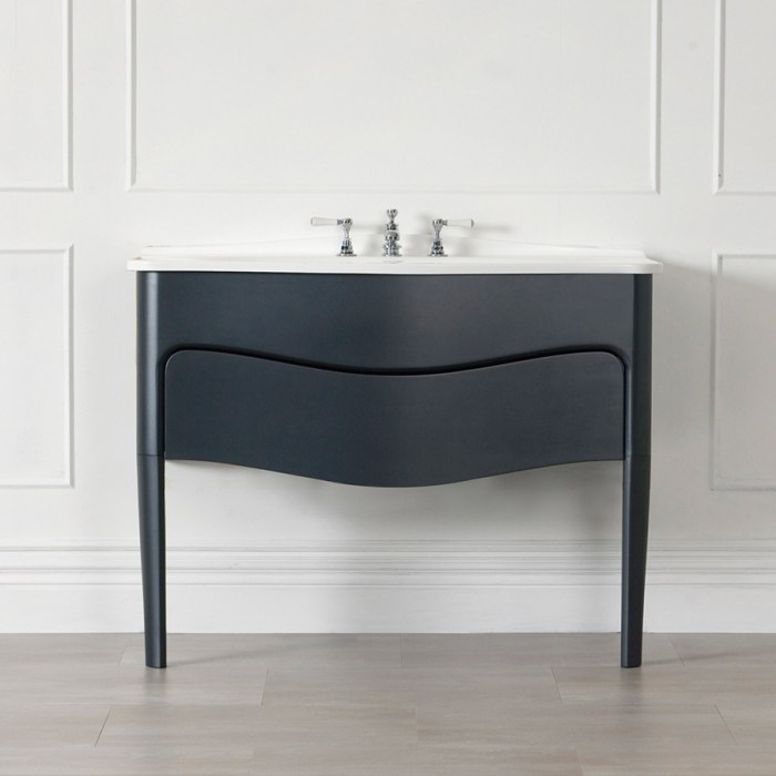 Victoria and Albert Mandello 114 Black bathroom vanity with integrated sink and real wood construction. Distributed in Australia by Luxe by Design, Brisbane.
