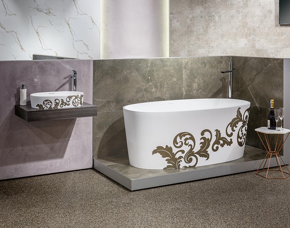 Victoria + Albert Gallery showroom display at Domayne Alexandria. Custom finished Ios filigree bath and Ios 54 basin