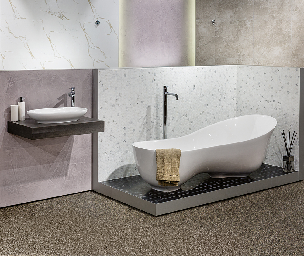 Victoria + Albert Gallery showroom display at Domayne Alexandria. Cabrits bath and Cabrits 55 basin