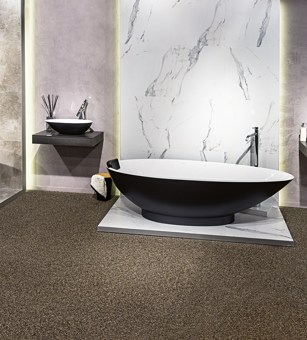 Victoria + Albert Gallery showroom display at Domayne Alexandria. Matte black Napoli bath and basin with napoli headrest