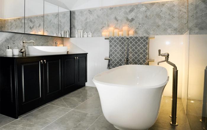 Shaynna Blaze Deadline Design Blackburn Bathroom - Victoria and Albert Amiata bath and Ios 80 basin. Marble and Black bathroom.