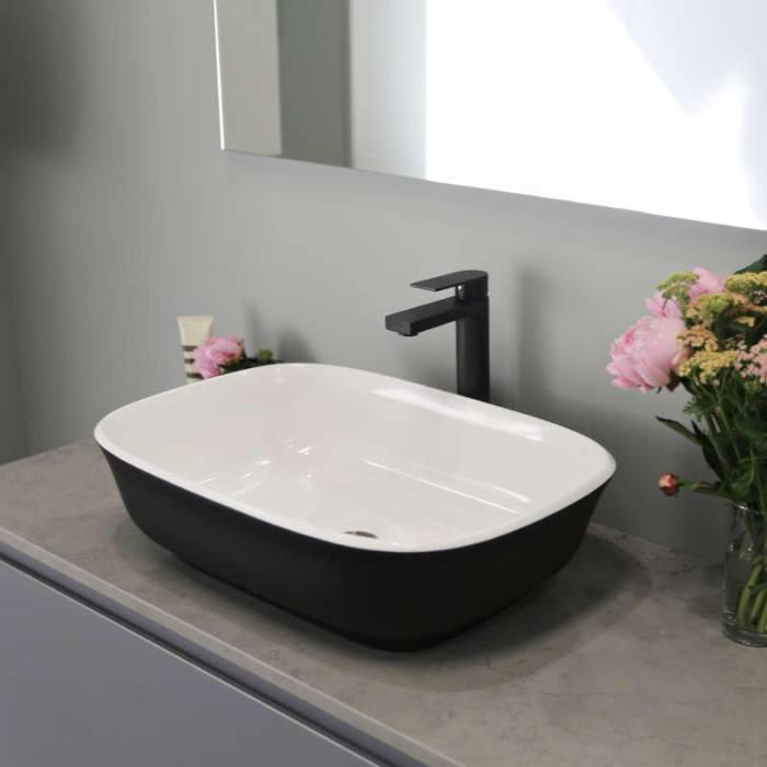 Kokoon Elements 120cm matte graphite cabinet with Fumo concrete stone top. Luxe by Design Australia