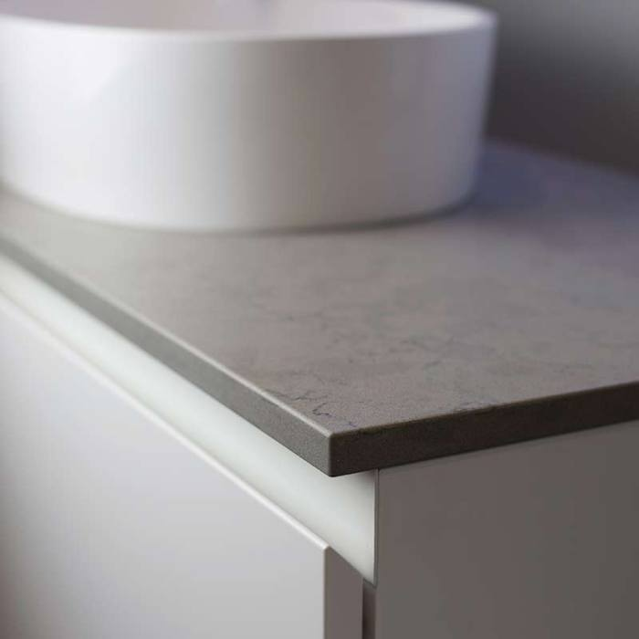 Kokoon Elements 120cm matte white cabinet with Fumo concrete stone top. Luxe by Design Australia