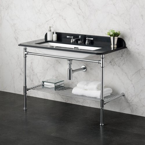 Victoria + Albert Metallo 113 black quartz washstand. Metal frame, stone or marble top bathroom vanity. Distributed by Luxe by Design Australia.