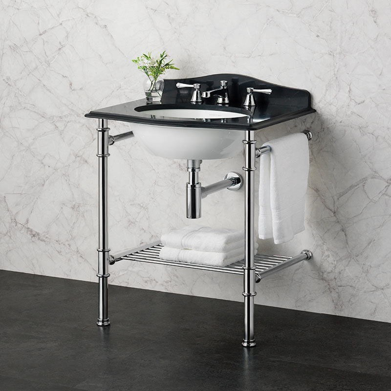 Victoria + Albert Metallo 61 black quartz washstand. Metal frame, stone or marble top bathroom vanity. Distributed by Luxe by Design Australia.