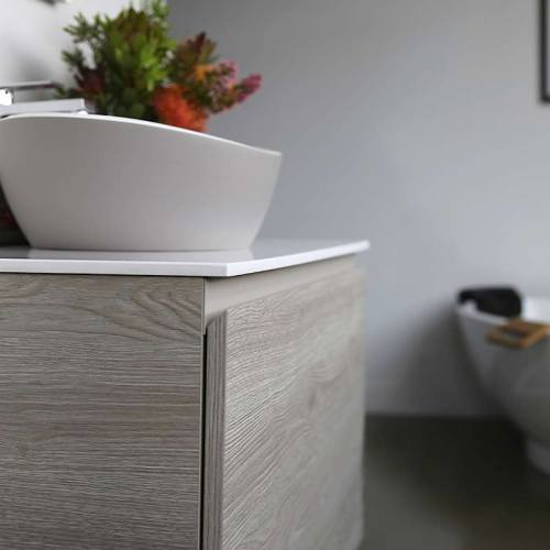 Kokoon Quantum rovere sherwood scuro cabinet with smooth white Mineralmarmo slab top. Luxe by Design Australia, Italian bathroom vanities and furniture, Brisbane.