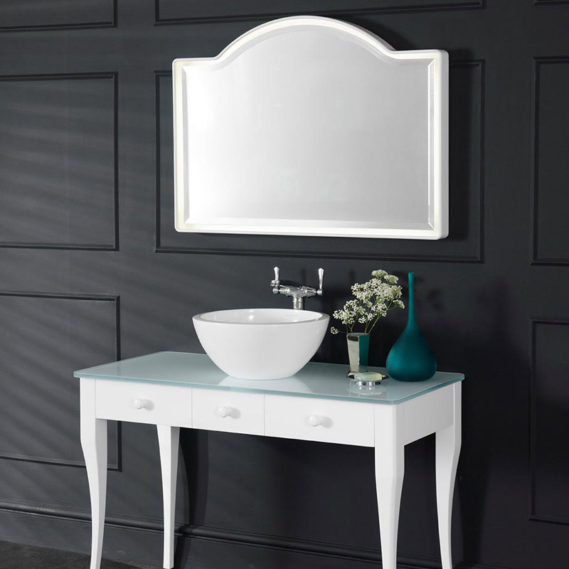 Victoria + Albert Loano 97 curved bevelled mirror. Distributed in Australia by Luxe by Design, Brisbane.