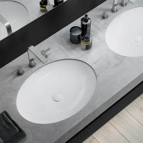 Victoria + Albert Kaali 65 undermount basin. Recessed stone basin, distributed in Australia by Luxe by Design, Brisbane.