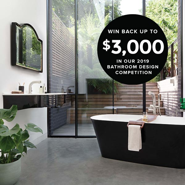 Victoria + Albert bathroom design competition 2019. Win back up to $3000 of the purchase price by sending in your bathroom photos. Contact Luxe by Design for competition details.